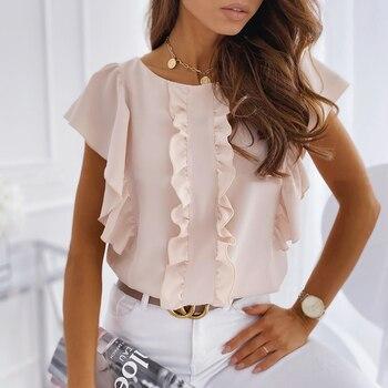 Women Bubble Sleeve Blouse Ladies Summer Casual Round Neck Short Sleeve Soild Color Ruffle Shirt Female Fashion Daily Top D20 цена 2017