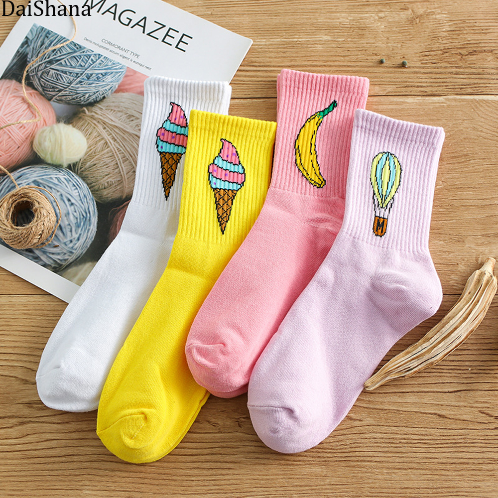 [DaiShana]Newly Spring Hot Sale Women Funny Ice Cream Cartoon Socks Creative Sokken Korean Japanses Kawaii Fashion Girls Socks.