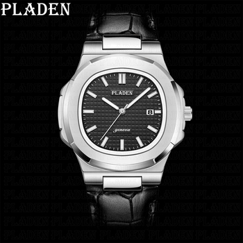 PLADEN Luxury Brand Men Auto Date Watch Sapphire Military Waterproof Quartz Watches Casual Leather Strap Relogio Masculino 2020 parnis power reserve auto date 47mm mechanical men s watch st2530 auto movement black leather strap