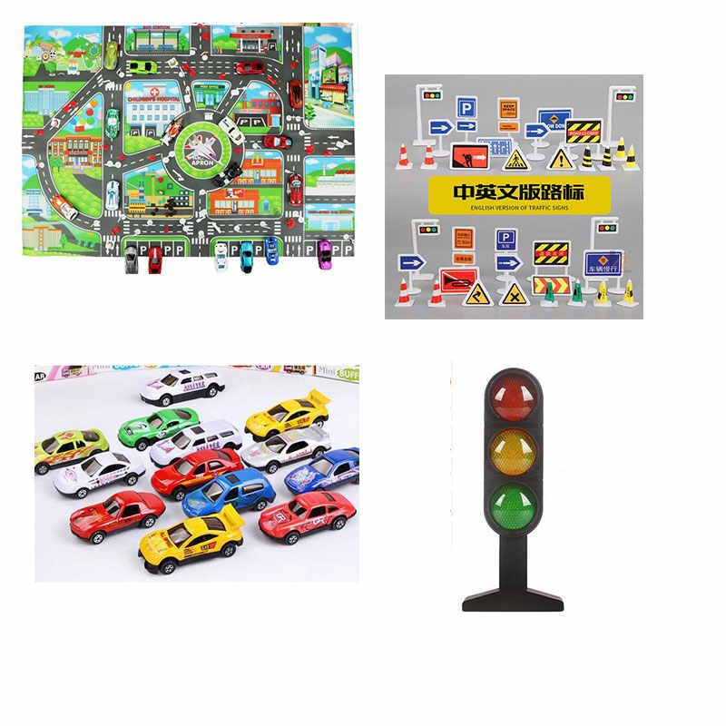 New Lifelike City Map Traffic Light Sign Roadblock Sign Taxi Train Truck Car Accessories Interesting Toys For Children Kids Gift