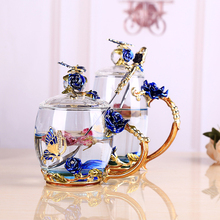 Enamel Color Coffee /Tea Cup Glass Chinese Tea Cup Coffee Mugs Creative Heat-Resistant Glass Cups Set with Stainless Steel Spoon бермуды la redoute из джинсовой ткани jjirrick jjicon s синий