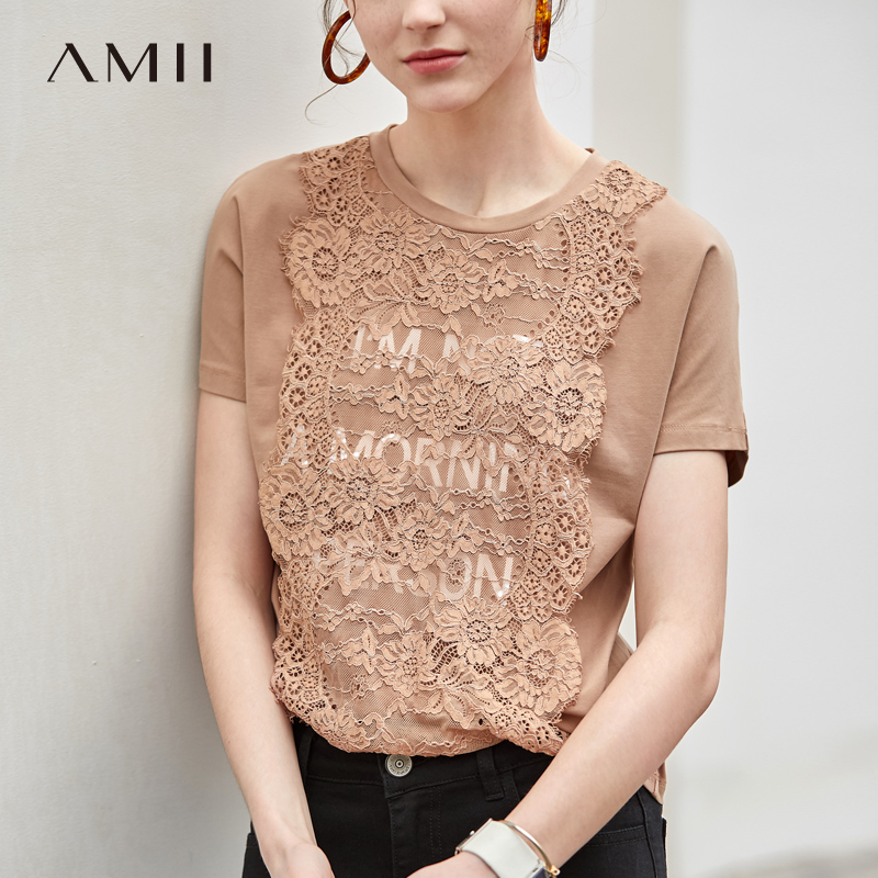 Amii Minimalist Patchwork Lace T-shirt Summer Female Solid Print O Neck Loose Short Sleeve Casual Women Tops 11930118