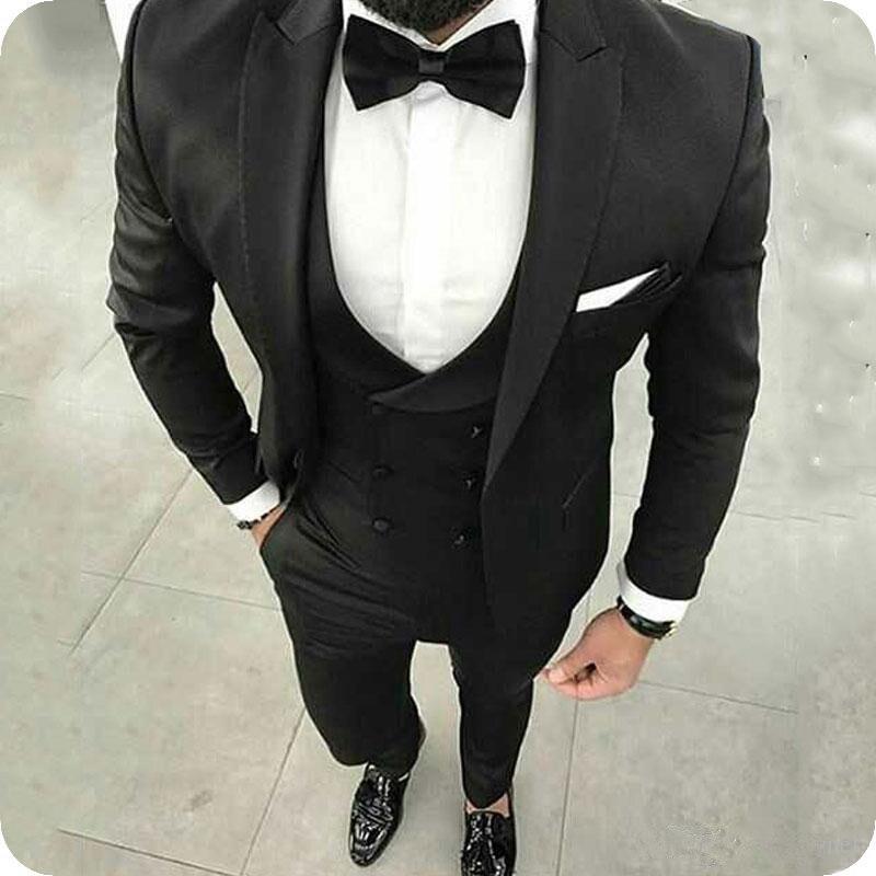 Black Men Suits Business Groom Wedding Tuxedos Casual Man 3Piece Peaked Lapel Slim Fit Bridegroom Blazer (coat+pant+vest)