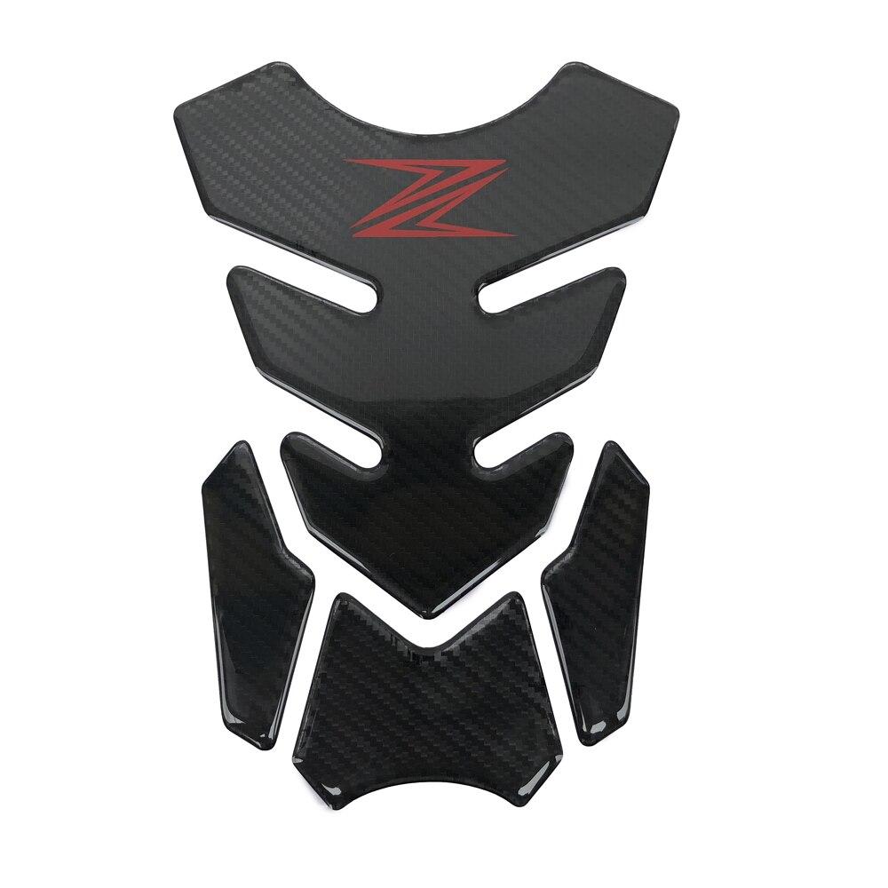 Capa protetora de tanque de motocicleta, 3d de carbono, decalque, adesivos para kawasaki z250 z300 z650 z750 z800 z900 z1000