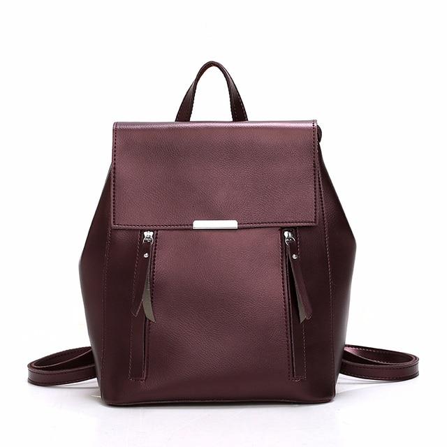 Femme sacs à Dos solide femmes école Sac à Dos Mochilas femmes en cuir sacs à Dos de haute qualité dames Sac à Dos Vintage Sac A Dos nouveau