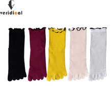 5 Pairs/Lot Cotton Five Finger Socks For Woman Edge Fashions Colorful Loose Harajuku Short Socks With ToesJapanese Style Brand