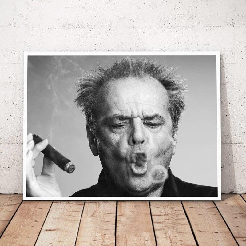 Джек Николсон сигары холст живопись черный и белый постер и принты куадроса настенные художественные картины для гостиной украшения дома