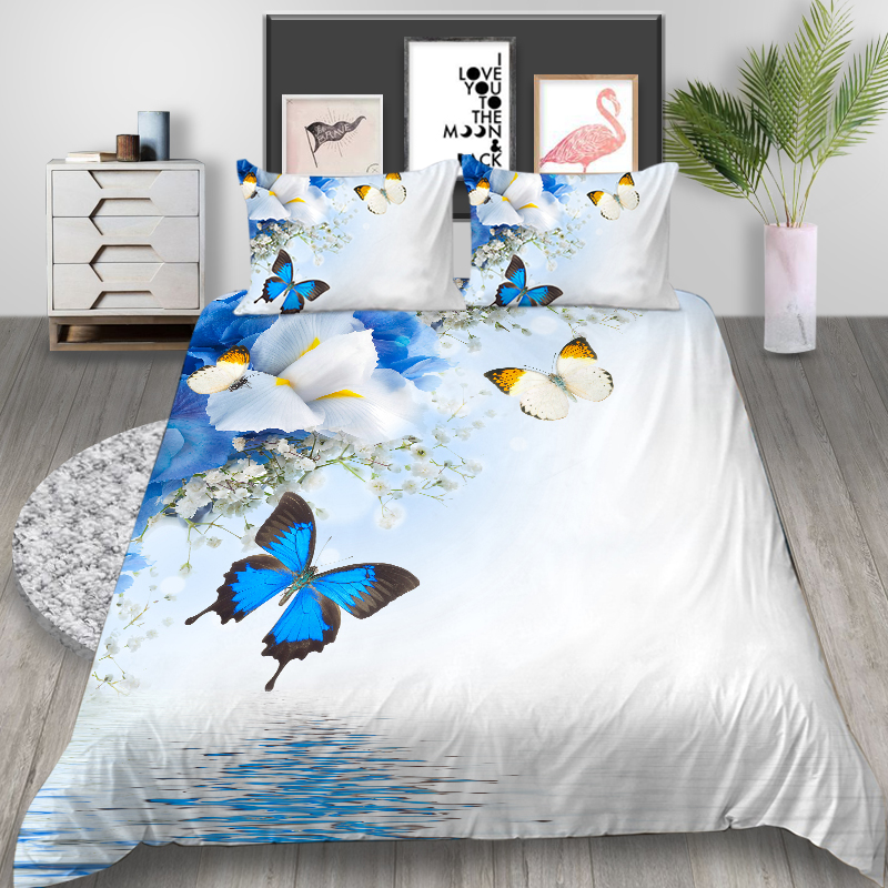 Thumbedding Butterfly Bedding Set Single Beautiful White Floral 3D Duvet Cover King Twin Full Double Comfortable Queen Bed Set