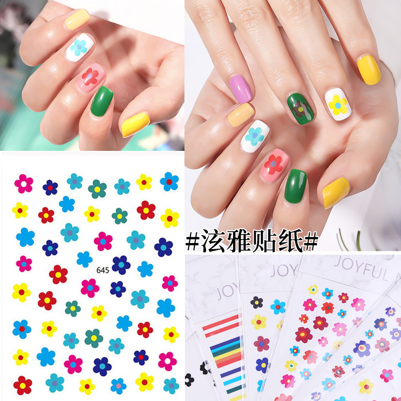 Hyuna Celebrity Style Nail Sticker Hot Selling Nail Decals Hipster Spring Flower Plumeria Rubra Short Nail Jump Color