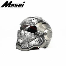 Masei War Machine Gray IRONMAN Iron Man helmet motorcycle Vintage Retro helmet half helmet open face helmet  casque motocross masei 610 top abs moto biker helmet ktm iron man personality special fashion half open face motocross helmet matt black