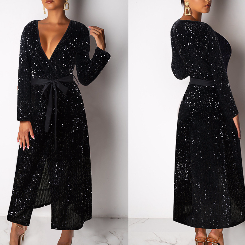 Deep V Neck Sexy Sequin Dress Black Shinning Evening Party Women Dress Long Sleeve Long Dress With Belt Robe Longue Femme Ete