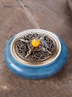 Direct selling new home jade pure copper sandalwood furnace large dish incense burner incense burner for Buddha King Kong