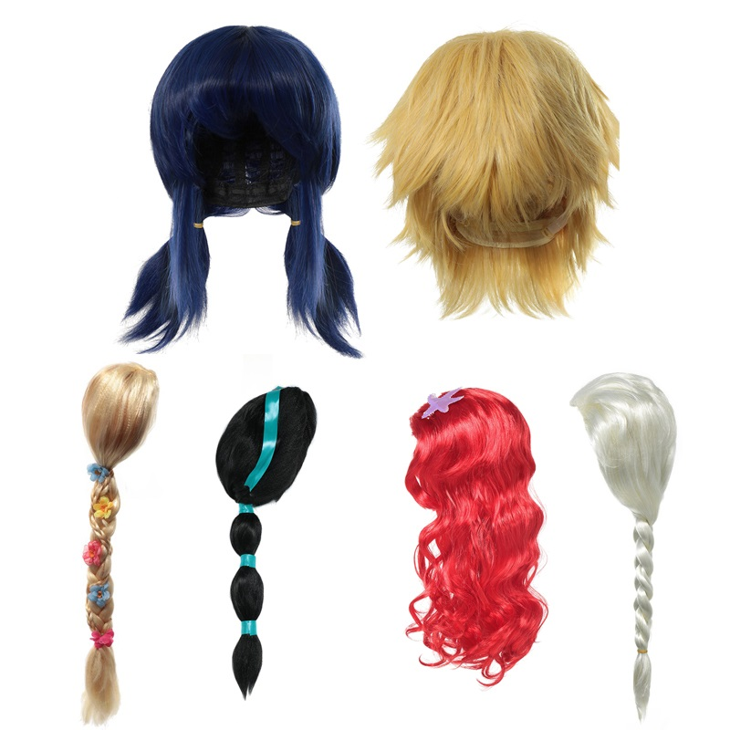 MUABABY Children Girls Wig Kids Ladybug Photography Props Girl Elsa Anna Aurora Belle Braid Mermaid Jasmine Moana Rapunzel Hair