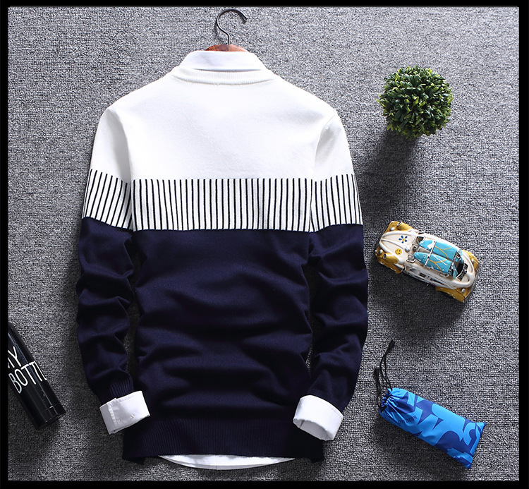 H87cbd329173844f0bee6e1b334e40729W - New Men's Autumn Winter Pullover Wool Slim Fit Striped Knitted Sweaters Mens Brand Clothing Casual pull homme hombre