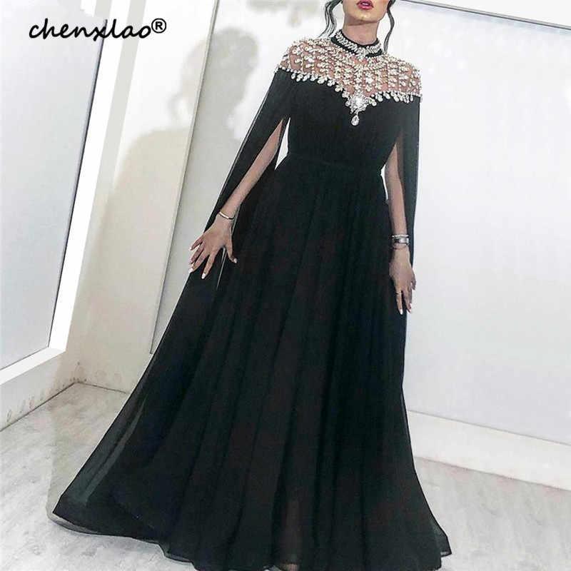 黒イスラム教徒のイブニングドレス 2019 A ラインシフォンビーズクリスタルプラスサイズイスラムドバイサウジアラビアアラビアロングフォーマルイブニングガウン
