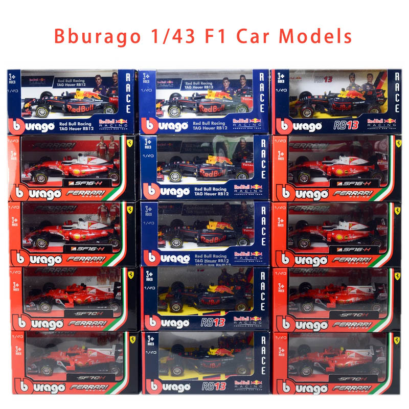 Bburago 1/43 1:43 Scale 2018 2019 Mercedes Benz Redbull Ferrari F1 Formula 1 Racing Car Diecast Display Model Children Toy