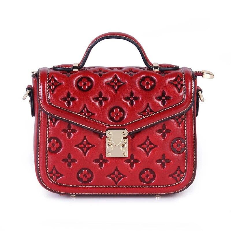 SUWERER Women Genuine Leather bags 2019 New fashion luxury handbags women Embossed Flowers bag women leather shoulder handbags in Top Handle Bags from Luggage Bags