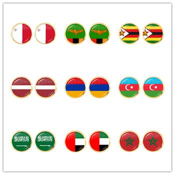 Malta Zambia Zimbabwe Latvia Armenia Azerbaijan Saudi Arabia UAE Morocco National Flag Glass Cabochon Stud Earrings For Women image