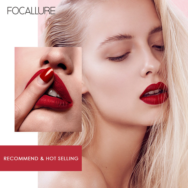 FOCALLURE Waterproof Liquid Lipstick Velvet Lip Tint Sexy Red Lip Makeup Keep 24 Hours Matte Lipstick 3