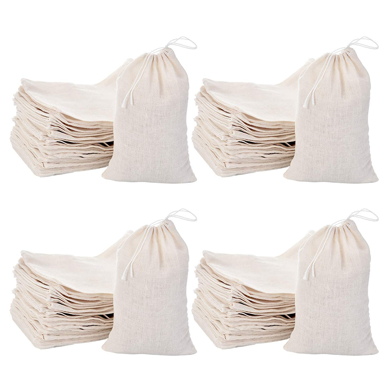 JHD-200 Pack Cotton Muslin Bags Sachet Bag Multipurpose Drawstring Bags For Tea Jewelry Wedding Party Favors Storage (4 X 6 Inch