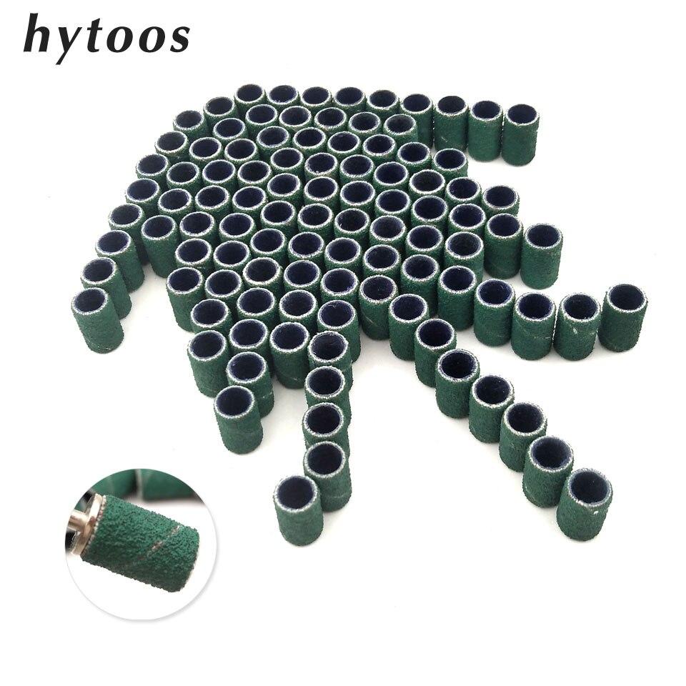 HYTOOS 100Pcs/set Green Nail Art Sanding Bands Nail Drill Accessories Pedicure & Nail Care Polishing Gel Polish Removal Tools