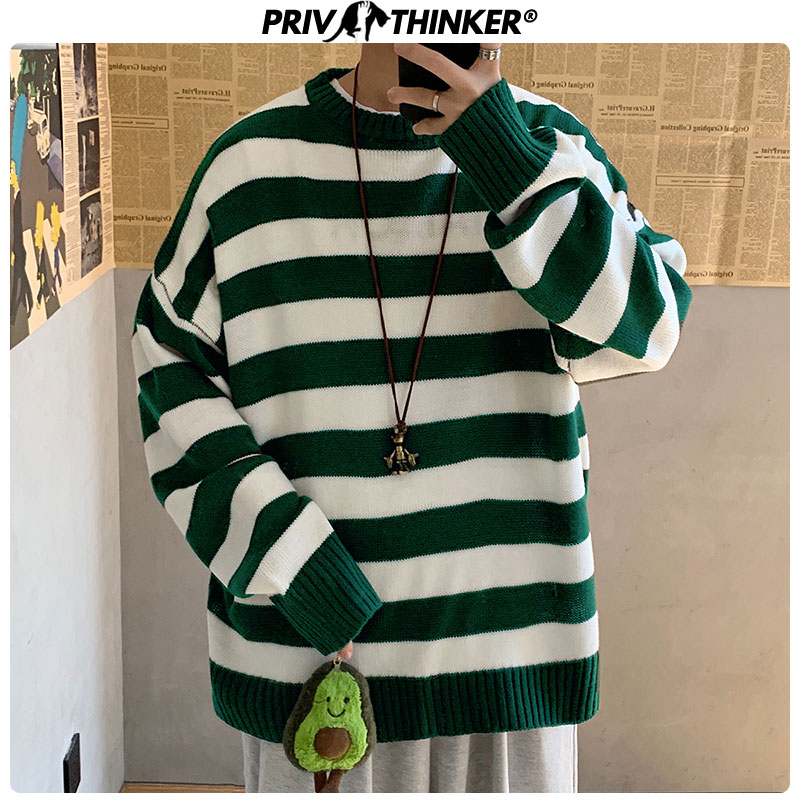 Privathinker Men Striped Casual Knitted Sweater Men's Korean Collage Autumn Pullover Tops Male O-Neck Oversize Sweater Fashions