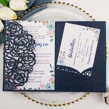 Прямая 50X Золотой/белый лазерный разрез с розами трехкратные свадебные пригласительные открытки персонализированные карманные пригласительные индивидуальные RSVP