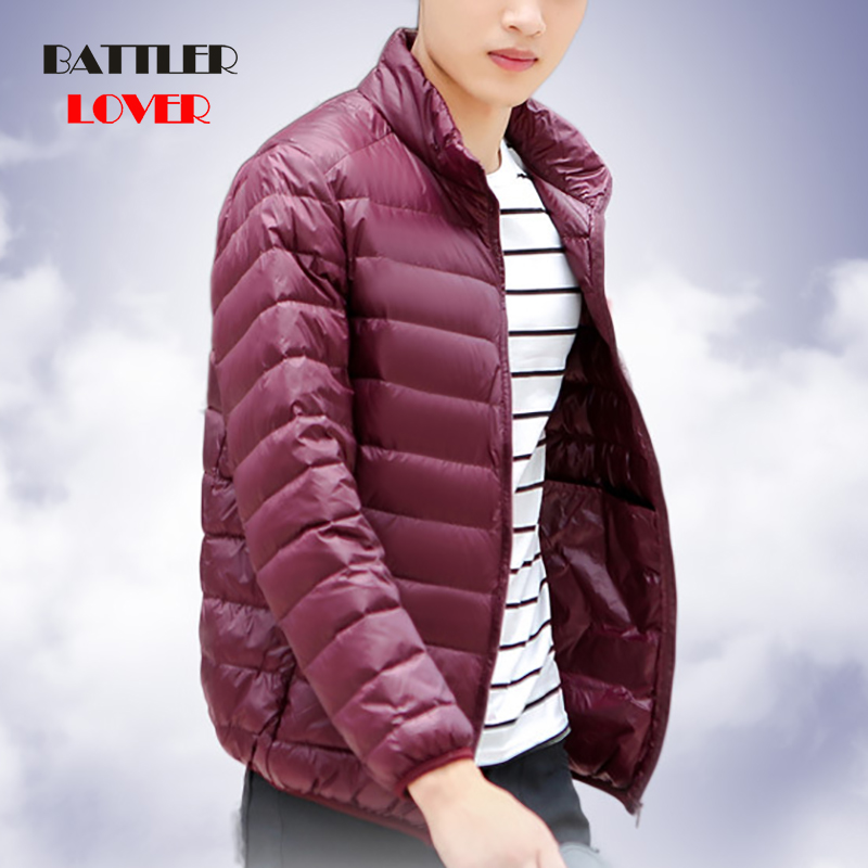 2019 Winter Men UltraLight Down Jacket 90% White Duck Down Jackets Thick Warm Slim Hooded Parka Males Portabl Outwear Clothing