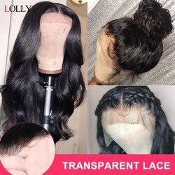 Lolly Body Wave Pruik 13X4 150% Maleisische Transparant Kant Voor Menselijk Haar Pruiken Pre Geplukt Remy Menselijk Haar pruiken Voor Zwarte Vrouwen