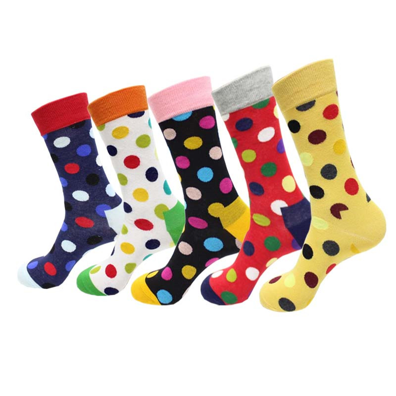 Hot Sale! Men Socks Long Autumn-winter Colorful Dot Cotton Sock Male And Men's Street Style Black Happy Socks