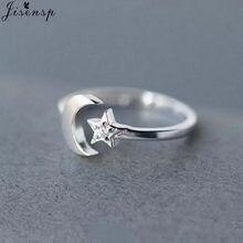 Jisensp simples criativo lua estrela dedo anéis estilo coreano cristal abertura anel moda jóias de casamento para as mulheres melhor presente
