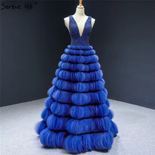 Blue Deep V Sexy Handmade Evening Dresses 2020 Sleeveless A Line Tiered Formal Evening Gowns Serene Hill HM66931