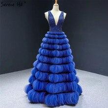 Serenhill robe de soirée Sexy, bleu, décolleté en V, sans manches, ligne a, à niveaux, faite à la main, élégante, HM66931, modèle 2020