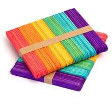 50 adet Mix renkler DIY dondurma sopa ahşap dondurma çubuğu çocuklar el yapımı sanat dondurma çubuğu DIY yapma çocuklar hediyeler