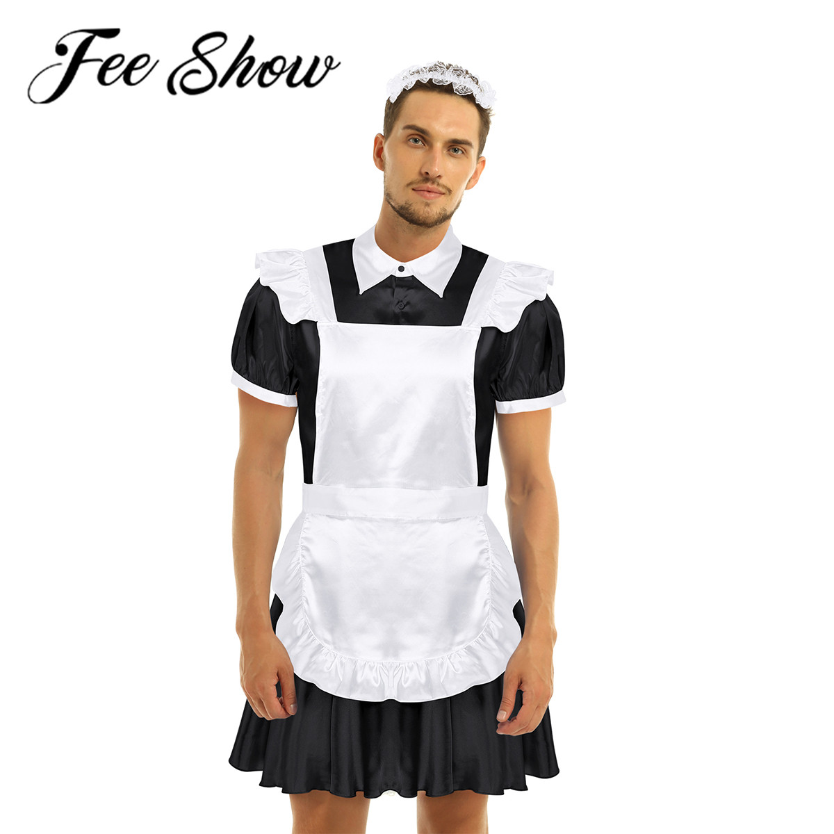 Men <font><b>Sissy</b></font> Shemale Clothes Maid Cosplay Costume Male <font><b>Gay</b></font> Crossdresser Halloween Role-playing Games Man <font><b>Lingerie</b></font> For Crossdressing image