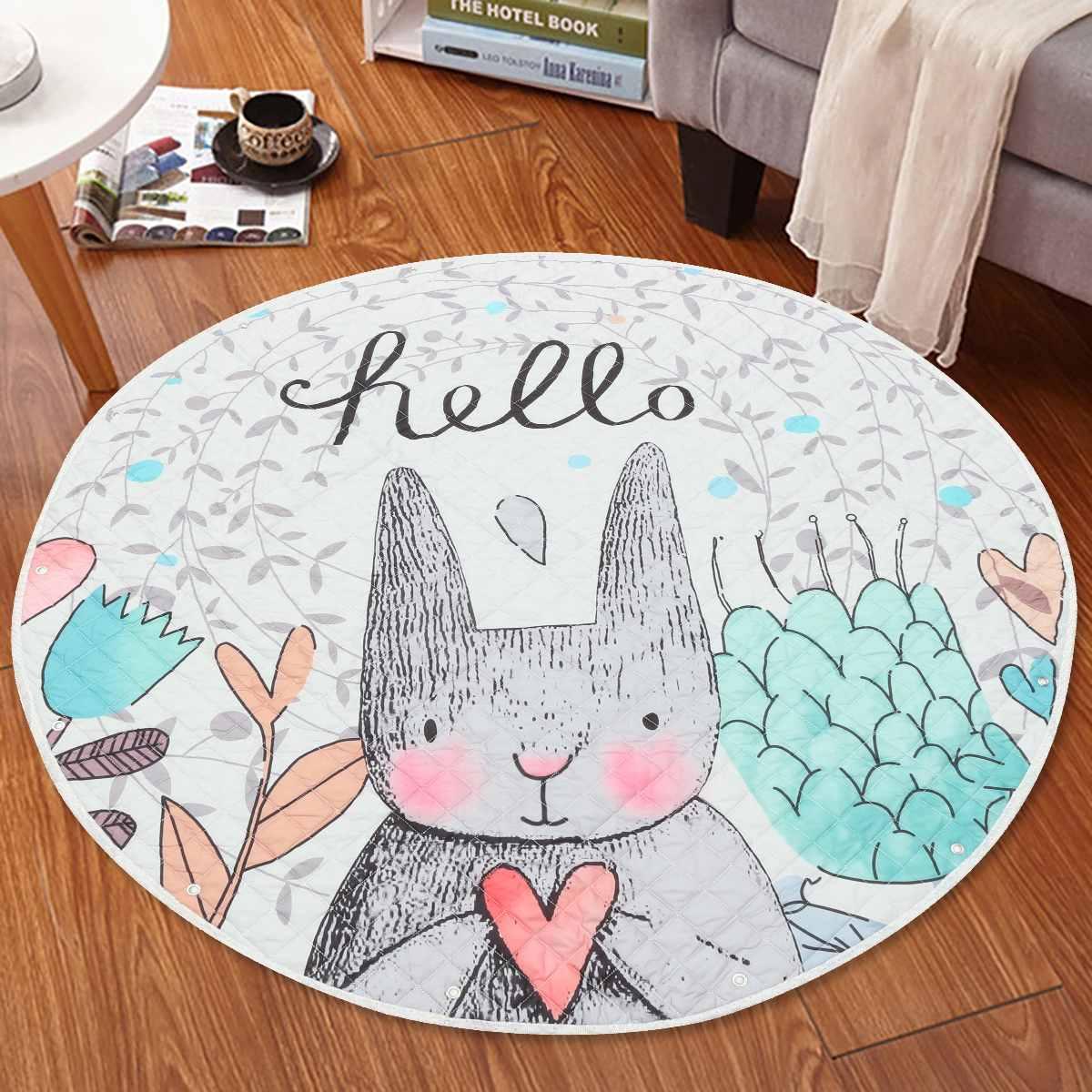 145cm Baby Kids Play Mat Toy Cartoon Bear Rabbit Rug Round Shape Gym Playmat Carpet Cushion Folding Crawling Mat Climbing Pad