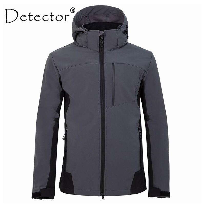 Detector Waterproof Fleece Hiking Jacket Men Rain Windproof Tactical Softshell Jacket for Climbing Fishing Trekking Windbreaker