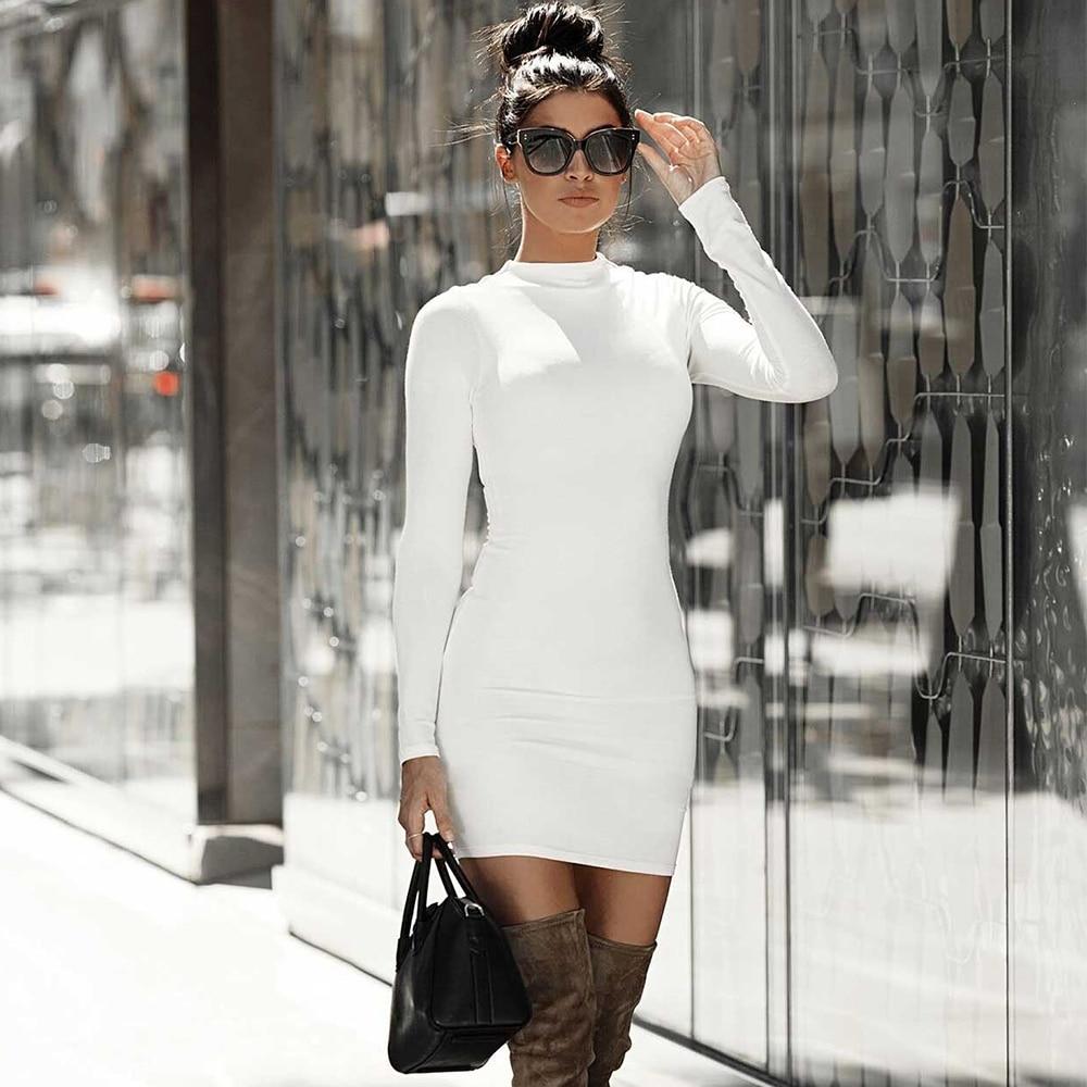 Ocstrade Bandage Dress 2021 Women Bodycon Dress Long Seeve New Arrival High Neck Mini Sexy Night Club Party Dress White Black