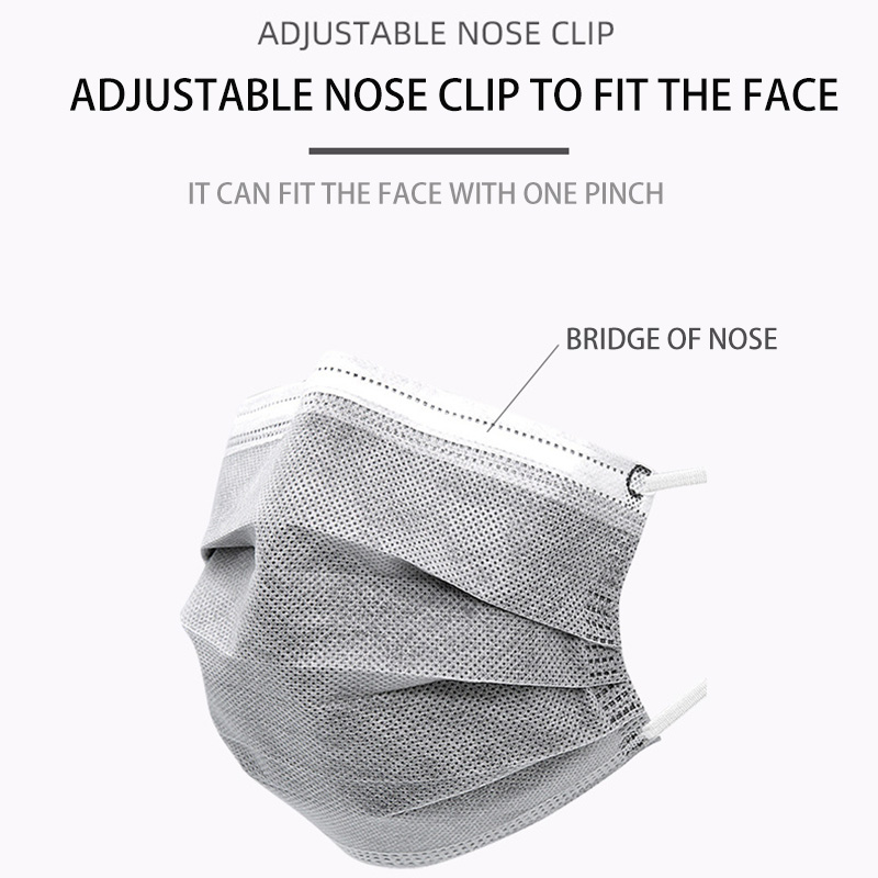 In Stock 50PCS Mask Respirator Face Masks Gray Disposable 4 Layers Dustproof Mask Facial Protective Cover Masks