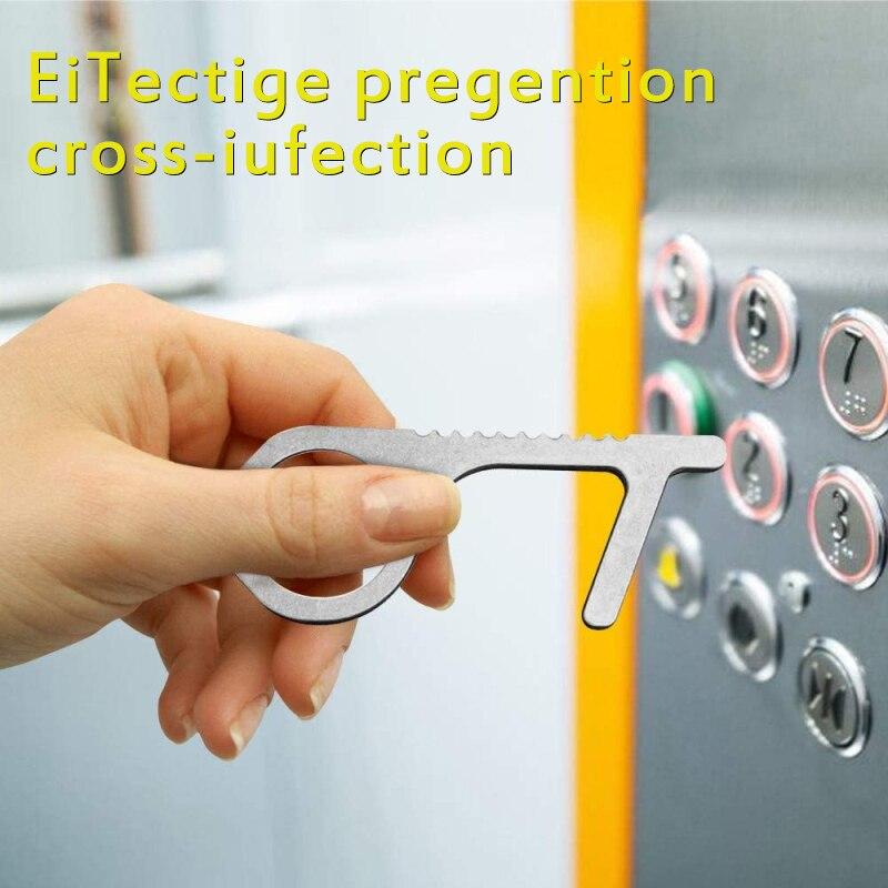 Elevator Press Handle Key Safe Keychain Zero-touch Key Press Key Ring For Elevator Artifact Elevator Handle Key Lot