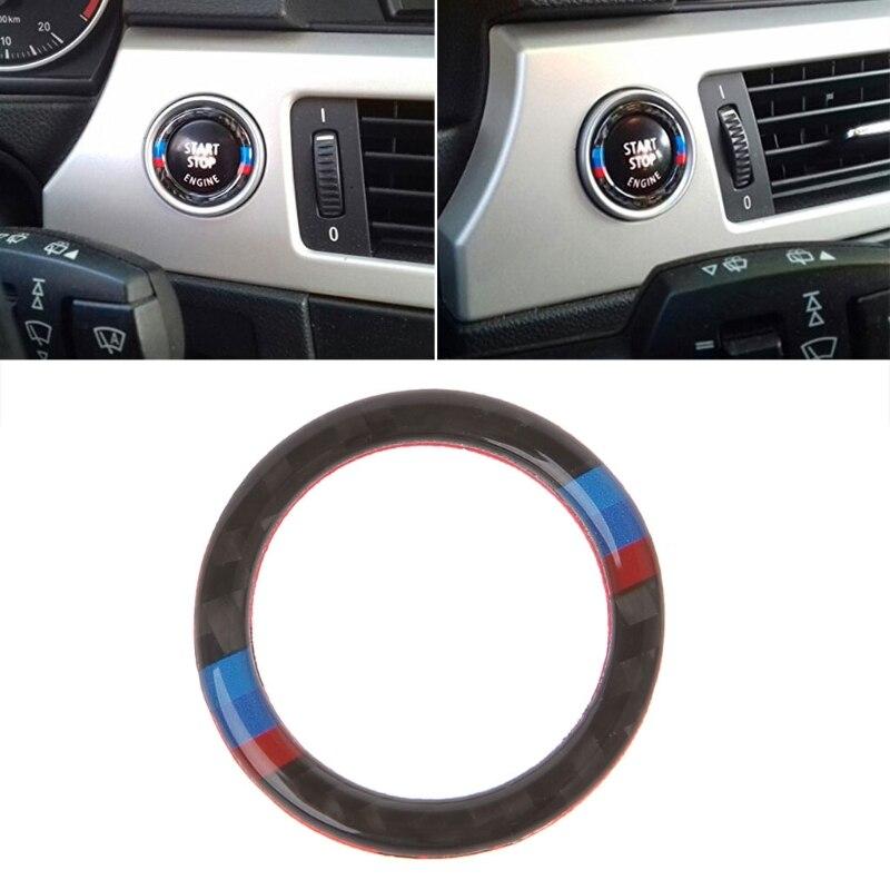 Carbon Fiber Key Start Button Ring Decor Trim For BMW 3 Series E90 / E92 / E93