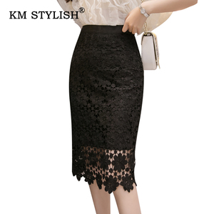 Женская кружевная юбка с цветочным рисунком, элегантная юбка до колена с вырезом, облегающая Талия, посылка на бедрах, 2 цвета, XL