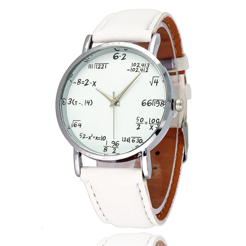 Fashion Math Formula Function Pattern Leather Band Ladies Watch Alloy Analog Quartz Vogue Watches Wrist Watches For Women Lovers