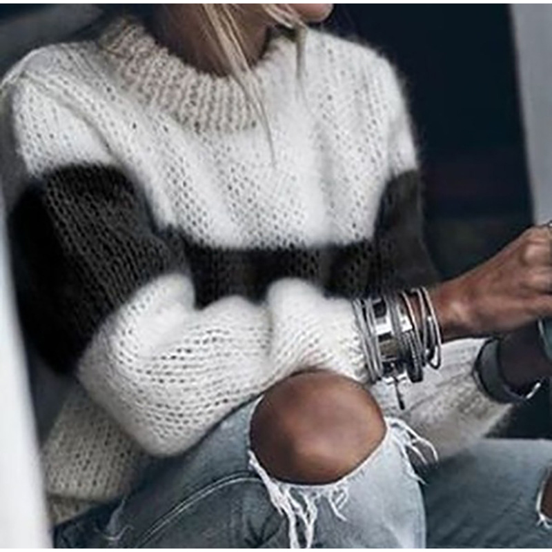 Autumn Winter Women's Loose Knitted Sweater Long Sleeve O-Neck PatchWork Pullover Sweaters For Female 19 Fashion Warm Clothes 4