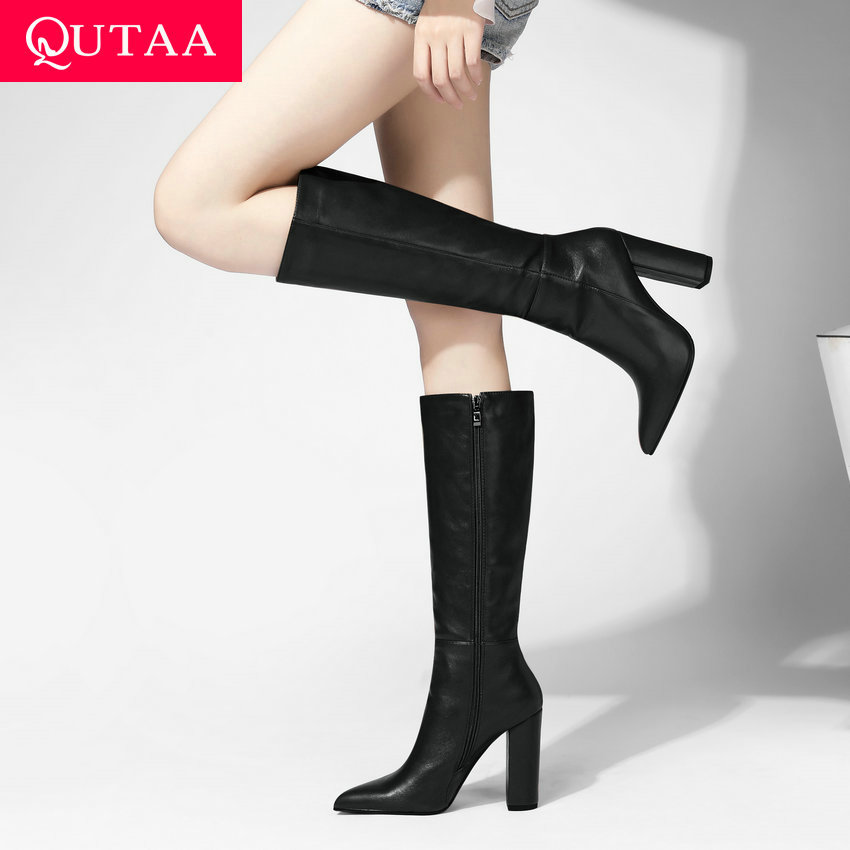 QUTAA 2021 Keep Warm Knee High Boots Autumn Winter PU Leather Women Shoes Pointed Toe Fashion High Heel Woman Boots Size 34 43|Knee-High Boots| - AliExpress