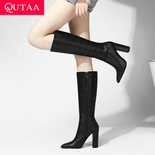 QUTAA 2021 utrzymać ciepłe buty do kolan jesień zima PU skóra kobiet buty Pointed Toe moda szpilki kobieta rozmiar butów 34-43 tanie tanio CN (pochodzenie) Podkolanówki Szycia Stałe hew-6749 Dla dorosłych Plac heel Podstawowe Krótki pluszowe Szpiczasty nosek