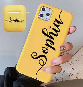 Image 2 - Personalized Name Phone Case for iPhone 11 12 Pro Max Xs XR  X se 6 7 8 Plus 2020 Case match with airpods 2 &1 case  Keychain