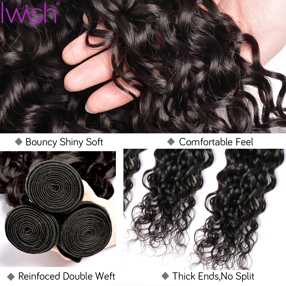 Image 5 - Water Wave Bundles With Closure Human Hair 3 Bundles With Closure Brazilian Hair Weave Bundle 4pcs Remy Hair Extensions Can Dyed-in 3/4 Bundles with Closure from Hair Extensions & Wigs