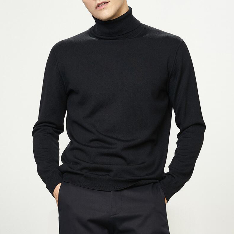 Men's Slim Fit  Knitted Pullovers New Autumn Winter Men'S Sweater Men'S Turtleneck Solid Color Casual Sweater Men's Slim Fit Bra