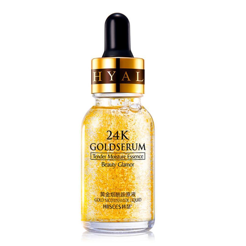 24K Gold Serum Face Serum Foil Oil Matte Facial Makeup Base Make Up Primer Hydrating Moisturizer Pores 15ml